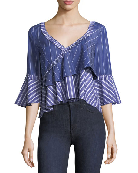 cinq a sept Fran Wide V-Neck Mixed-Striped Poplin
