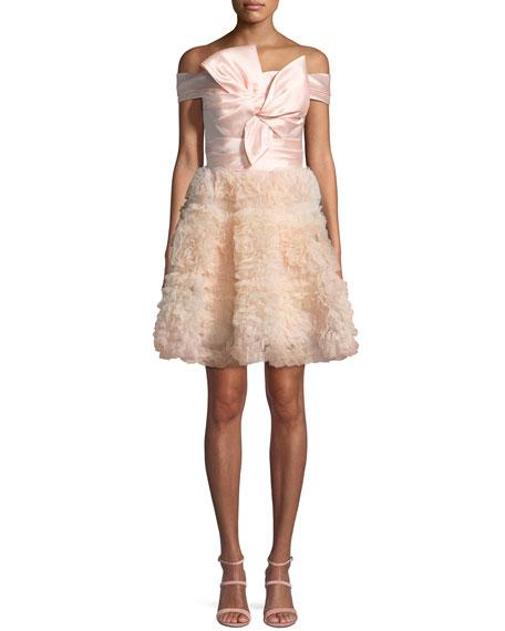Marchesa Notte Mikado Bodice Cocktail Dress
