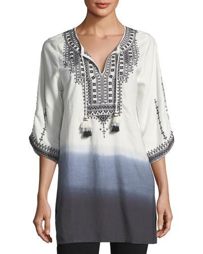 Aria Embroidered Tie-Dye Tunic, Plus Size