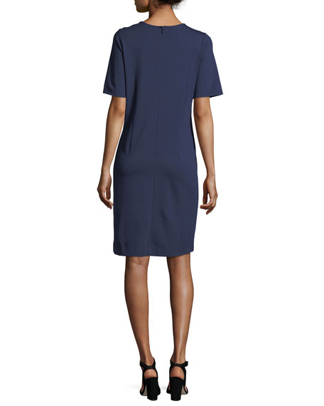 Colorblock Short-Sleeve Pocket Dress