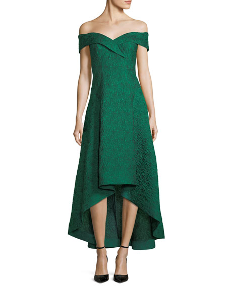 Taffeta Off-the-Shoulder High-Low Cocktail Dress