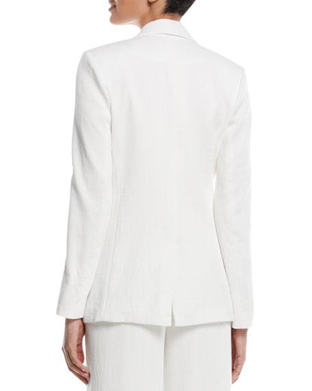 Crinkle Crepe Slit-Sleeve Blazer