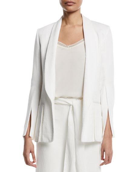 Halston Heritage Crinkle Crepe Slit-Sleeve Blazer and Matching