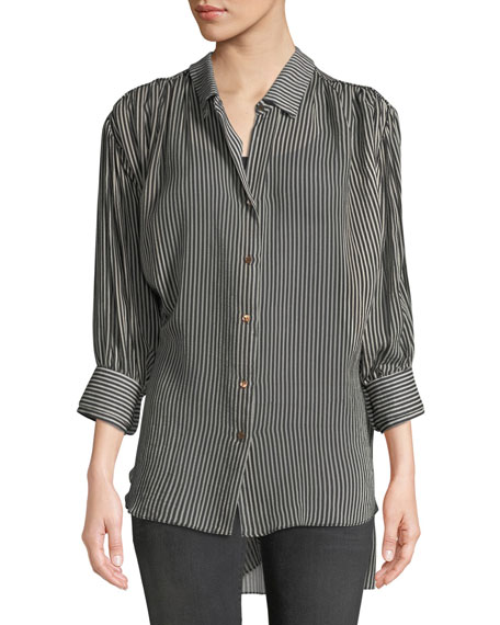 Halston Heritage Ruched Button-Up Long-Sleeve Top and Matching