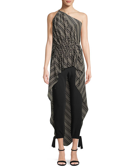 Halston Heritage Stripe-Print Gathered High-Low Top
