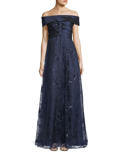 Off-the-Shoulder Shutter A-Line Gown