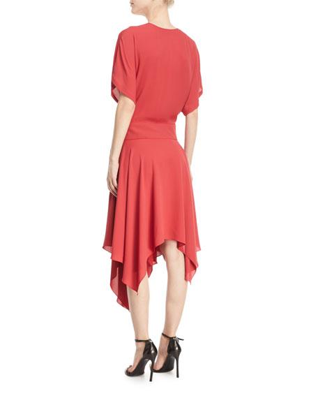 Kimono Asymmetric V-Neck Wrap Dress