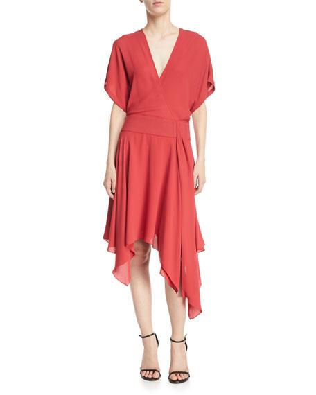 Halston Heritage Kimono Asymmetric V-Neck Wrap Dress