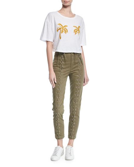 Kingsley High-Waist Lace-Up Skinny-Leg Pants