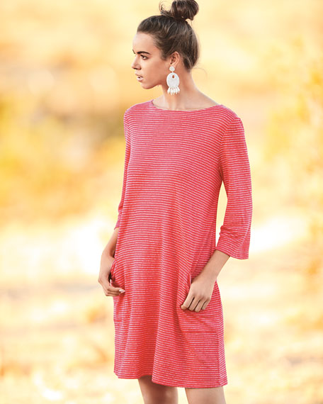 Striped Organic Linen Shirt Dress, Petite
