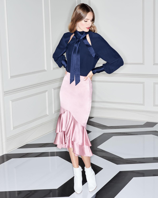 ac67f44b22b7 cinq a sept Anissa Fitted Satin Midi Skirt with Ruffled Hem | Neiman Marcus