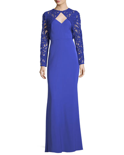 Long-Sleeve Lace Bolero Column Gown