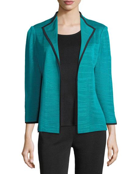 Wavy-Pattern Jacket w/ Contrast Trim, Plus Size