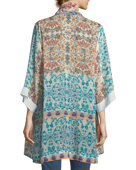 Betimo Embroidered Printed Kimono, Petite