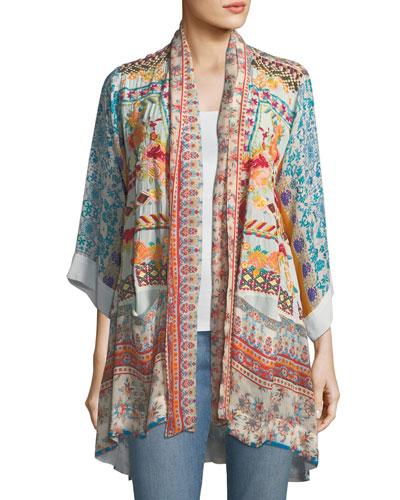 Betimo Embroidered Printed Kimono, Plus Size
