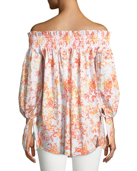 Lou Off-the-Shoulder Floral-Print Cotton Top
