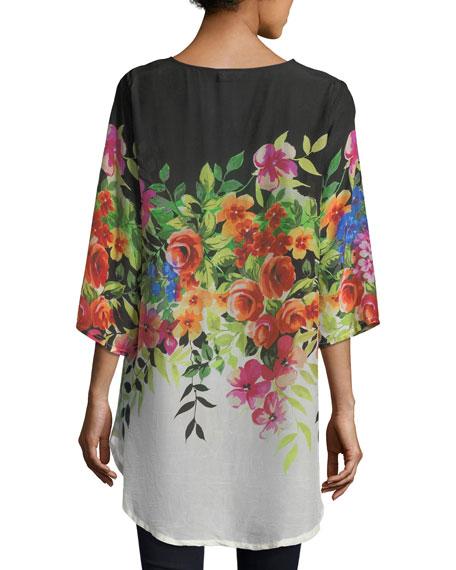 Betty Floral-Print V-Neck Top, Plus Size