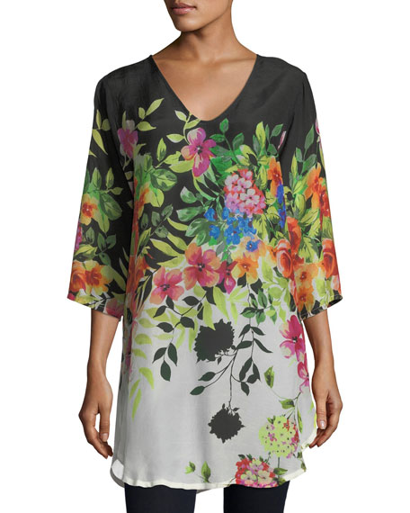 Johnny Was Betty Floral-Print V-Neck Top, Plus Size