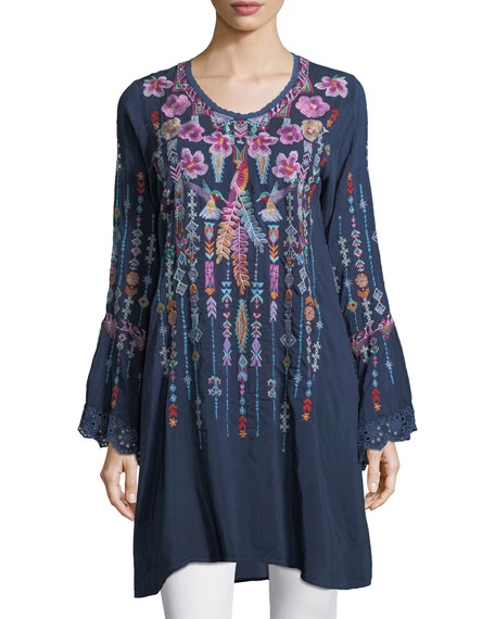 Johnny Was Lulu Embroidered Georgette Tunic, Petite