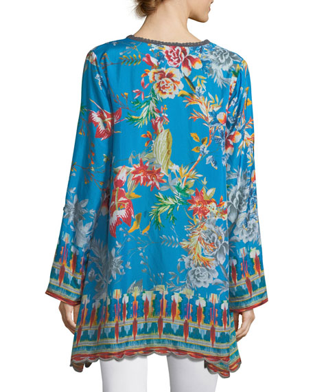 Mala Printed Georgette Blouse, Plus Size