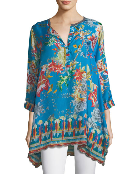 Johnny Was Mala Printed Georgette Blouse, Plus Size