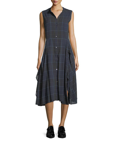 Cassidy Sleeveless Button-Front Plaid Dress