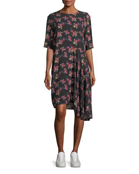 Public School Rima Crewneck Half-Sleeve Floral-Print Dress