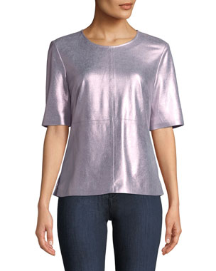 53d7edf71494 Neiman Marcus Leather Collection Metallic Suede Tee