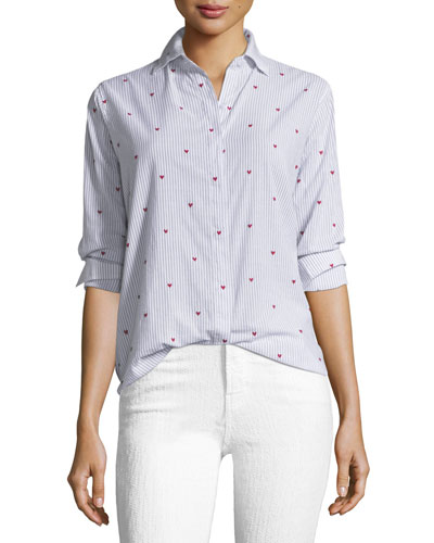 Taylor Striped Button-Down with Heart Embroidery