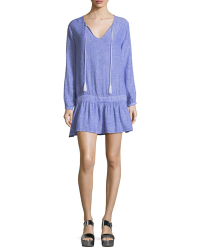 Lydia Split-Neck Drop-Waist Linen Mini Dress