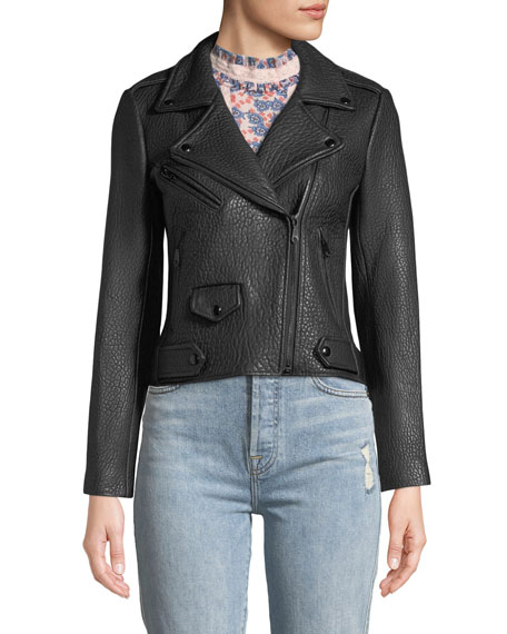 Wes Zip-Front Pebbled Leather Moto Jacket
