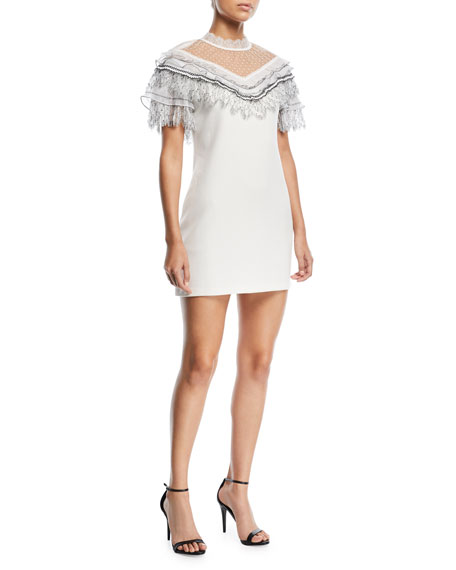 Self-Portrait Pleated Trim A-Line Mini Crepe Cocktail Dress