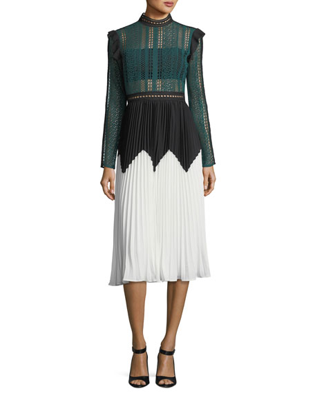 Self-Portrait Stripe Paneled Long-Sleeve Lace Midi Dress