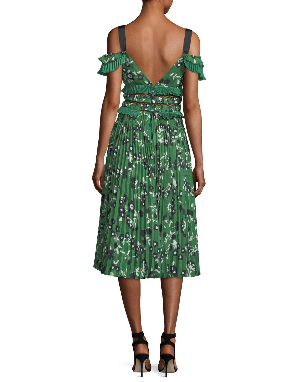 458fcf3768d5 Self-Portrait Cold-Shoulder Floral-Print Midi Dress with Pleats & Frills |  Neiman Marcus