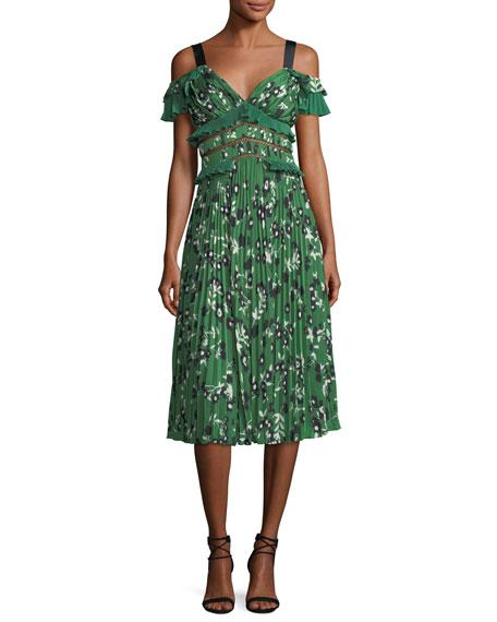 Self-Portrait Cold-Shoulder Floral-Print Midi Dress with Pleats &