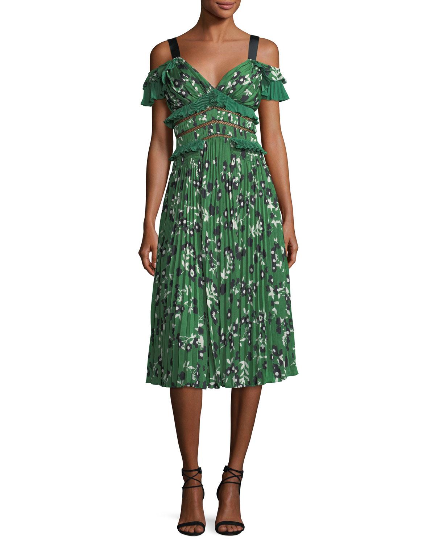 ba2de6299390 Self-Portrait Cold-Shoulder Floral-Print Midi Dress with Pleats & Frills
