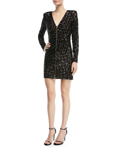 Zip-Front Sequined Mini Cocktail Dress