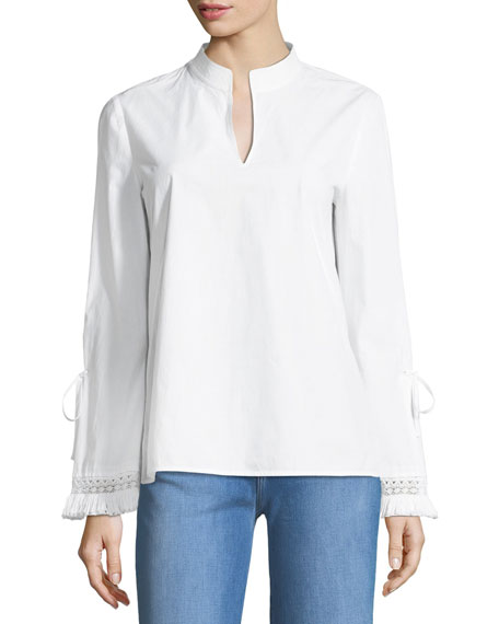 Tory Burch Sophie Split-Neck Poplin Tunic Top