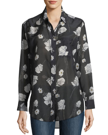 Equipment Rose-Print Button-Front Egyptian Cotton Shirt