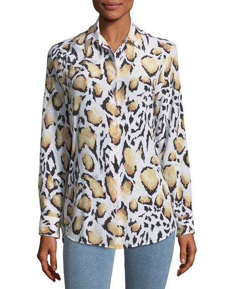 Equipment Cloud Leopard-Print Button-Down Essential Shirt