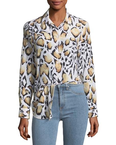 Cloud Leopard-Print Button-Down Essential Shirt