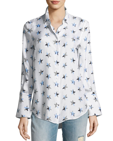 Equipment Rossi Button-Front Star-Print Flare-Cuff Shirt