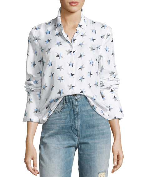 Rossi Button-Front Star-Print Flare-Cuff Shirt