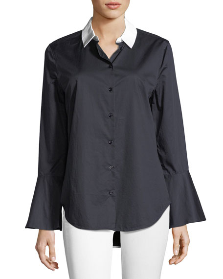 Equipment Darla Button-Front Flare-Cuff Poplin Shirt