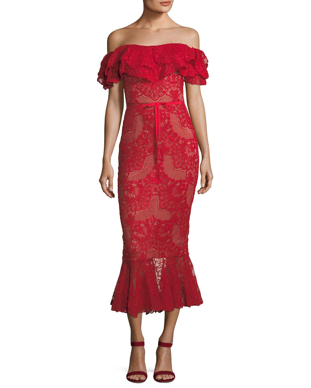 0c3f7b24640 Marchesa Notte Off-Shoulder Flared Lace Cocktail Midi Dress