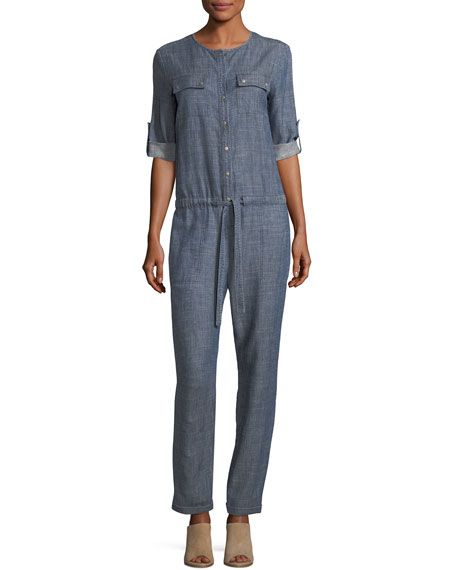 Crosshatch Chambray Button-Front Jumpsuit
