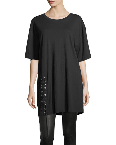 Lace-Up Crewneck Oversized Cotton Tee