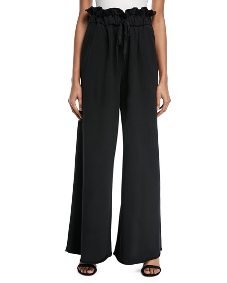 Kendall + Kylie Paperbag Wide-Leg Sweatpants