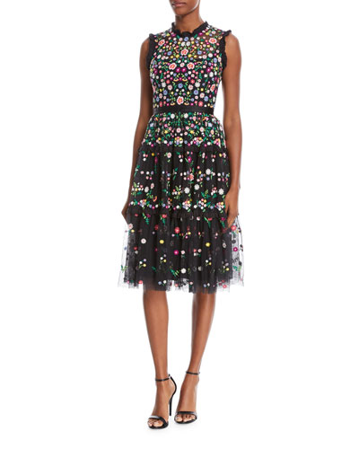 Lazy Daisy Sleeveless Floral-Embroidered Tulle Cocktail Dress