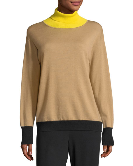 Rhea Turtleneck Colorblocked Wool-Cashmere Sweater